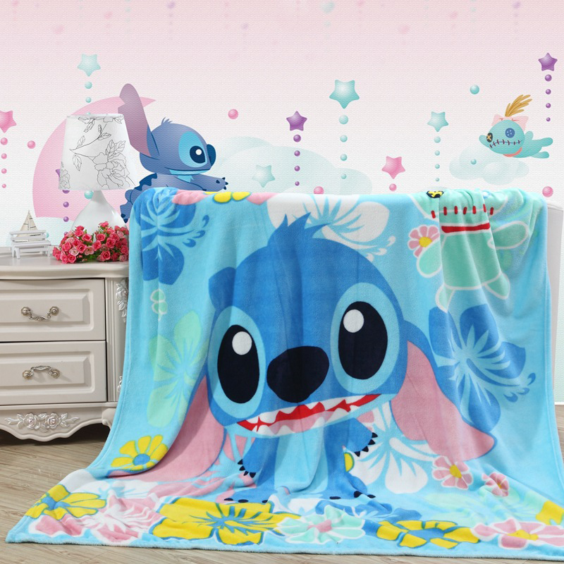 Lilo Stitch Floral Printed Blankets Throws for Girls Boys Children's Kids Gift Home Bedroom Decoration Flannel Blue 150x200cm image