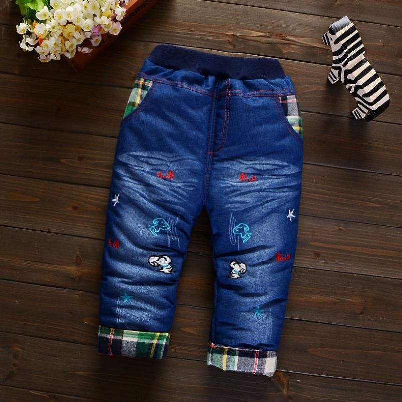 2019New Fashion Girls Autumn Winter Thicken Jeans Baby BoyEmbroidery  Jeans Kids Elastic Waist Winter Trousers Warm Pants 6