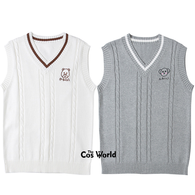 S-XXL Spring Autumn Sleeveless Bear Pattern Embroidery Knit Vests Pullovers V Neck Sweaters For JK School Uniform