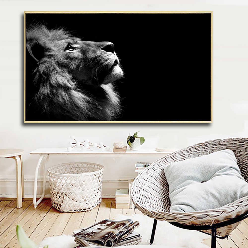 Deco Mur Salon Noir Et Blanc grande taille noir et blanc lion peinture toile impression