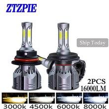 ZTZPIE 72W 3000k 5000K 4500K 6000K 2PCS 16000LM 9005 H1 H8 H4 טורבו Led הנורה רכב ערפל אור H3 H7 H118000K נורות סופר מואר 12V