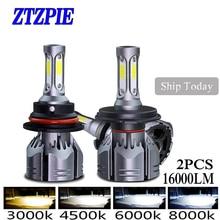 ZTZPIE bombilla Led Turbo para coche, 72W, 3000k, 5000K, 4500K, 6000K, 2 uds., 16000LM, 9005 H1 H8 H4, Luz antiniebla superbrillante, 12V, H3 H7 H118000K