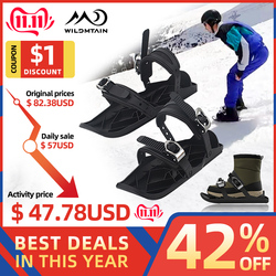 Mini Snow Ski Skates for Skiing Snowshoes, Adjustable Bindings Separated the Short Skiboard Snowblades for Women Men Adults