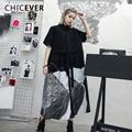 CHICEVER Vintage imprimir el Vestido Mujer solapa media manga suelta gran tamaño Hit Color Patchwork Vestidos Mujer moda nuevo verano