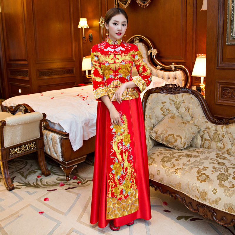 Toasting Bride Red Slim Chinese Style Xiuhe Suit New Dragon Phoenix Gown In Autumn 2020 Long Sleeve Cheongsam