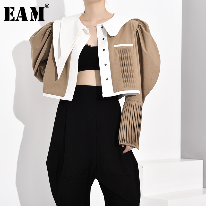 [EAM] Women Khaki Pleated Split Joint Shaped Blouse New Lapel Long Sleeve Loose Fit Shirt Fashion Tide Spring Autumn 2020 JZ3250