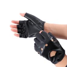 1 para Unisex czarny PU skórzane rękawiczki bez palców rękawice pół palca jazdy rękawiczki bez palców kobiety mężczyźni moda Motor Punk rękawice tanie tanio okdeals Skóra syntetyczna Jazda na rowerze Uniwersalny Fingerless Gloves PU Leather Black 1 pair* Gloves Half Finger Driving