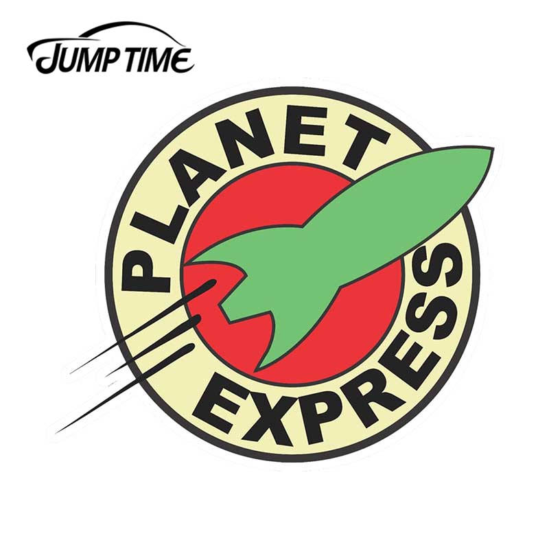 Jump Time 13cm X 13cm For Futurama Planet Express Logo Vinyl Sticker Car Truck Window Decal JDM Wall Bumper Car Accessories