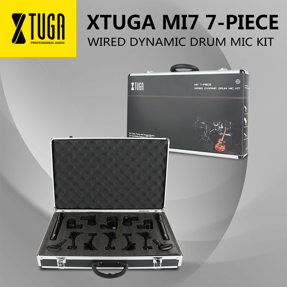 XTUGA MI7 7-Piece Wired Dynamic Drum Mic Kit (Whole Metal)- Kick Bass, Tom/Snare & Cymbals Microphone Set For Drums, Vocal