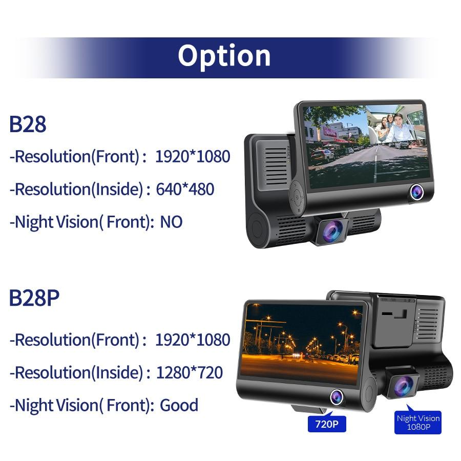 E-ACE Car DVR 3 Cameras Lens 4.0 Inch Dash Camera Dual Lens suppor Rearview Camera Video Recorder Auto Registrator Dvrs Dash Cam 4