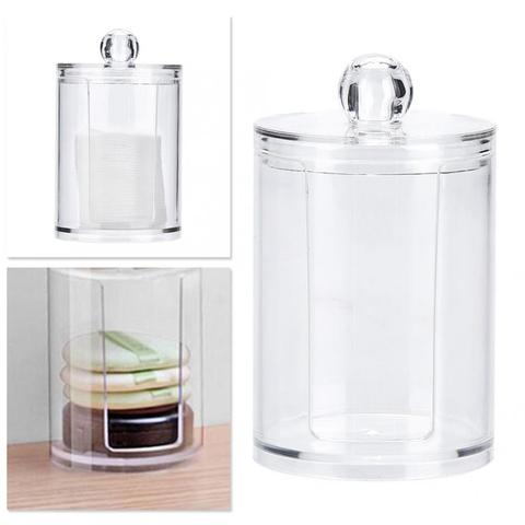 Round Clear Acrylic Makeup Cotton Pad Swab Holder Makeup Cosmetic Storage Organizer Box Makeup Tools Islamabad