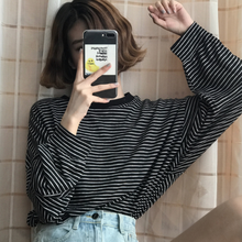 women clothes 2020 fall vintage tops aesthetic harajuku ulzzang long sleeve best friends stripe loose basic t shirt DA751(China)