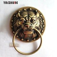 2 piezas 135mm chino antiguo aldaba de puerta de cobre bestia Tigre manija antiguo manijas muebles de cobre