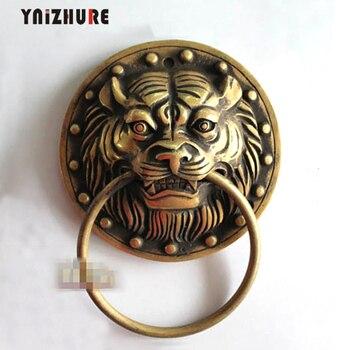 2pcs 135mm Chinese Antique Door Knocker Copper Beast Tiger Handle Antique Handles Furniture Copper