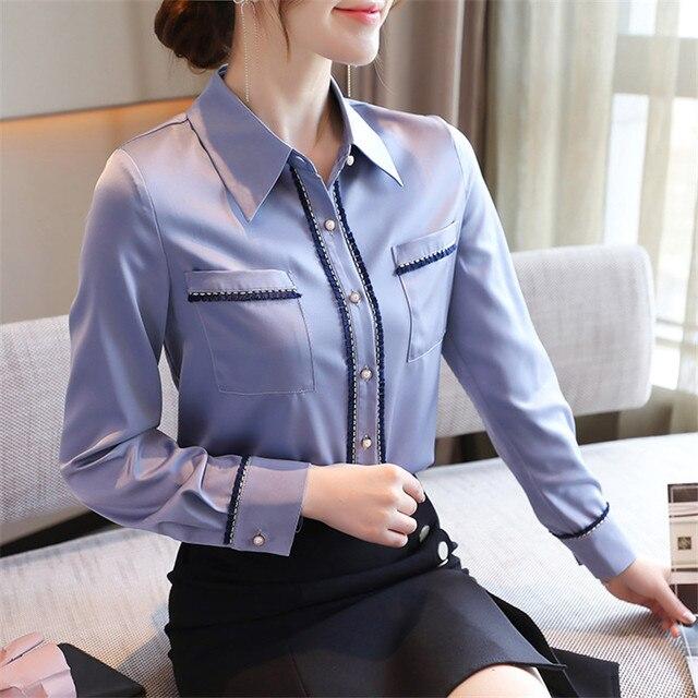 Korean Women Shirts Woman Shirt and Blouse Office Lady Beading Blouses Shirts Women Long Sleeve Satin Shirt Tops Plus Size XXL 1