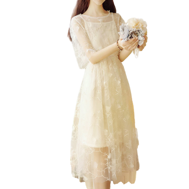 Spring and summer super fairy fairy long dress elegant short-sleeved pure color O-neck applique elegant and sweet fairy dress 6