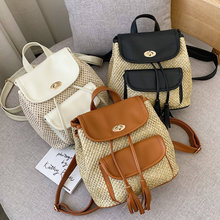 Casual Pu Patchwork Knitted Backpack Summer Beach Mochila Mujer Sweet Tassel Girls School Bags Fashion Portable Travel