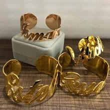 Bracelet doré avec nom personnalisé pour femmes, largeur 30MM, bijoux à la mode, en acier inoxydable, 2019