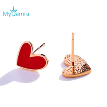 MYQAMRA Authentic Pure 18k Yellow GoldLittle red heart  Stud Earrings For Women Gold Earring Jewelry Valentine's Day gift цена в Москве и Питере