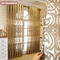 Высококачественные роскошные вышитые шторы в европейском стиле для гостиной, спальни, балкона, виллы, дворца, золотые занавески
