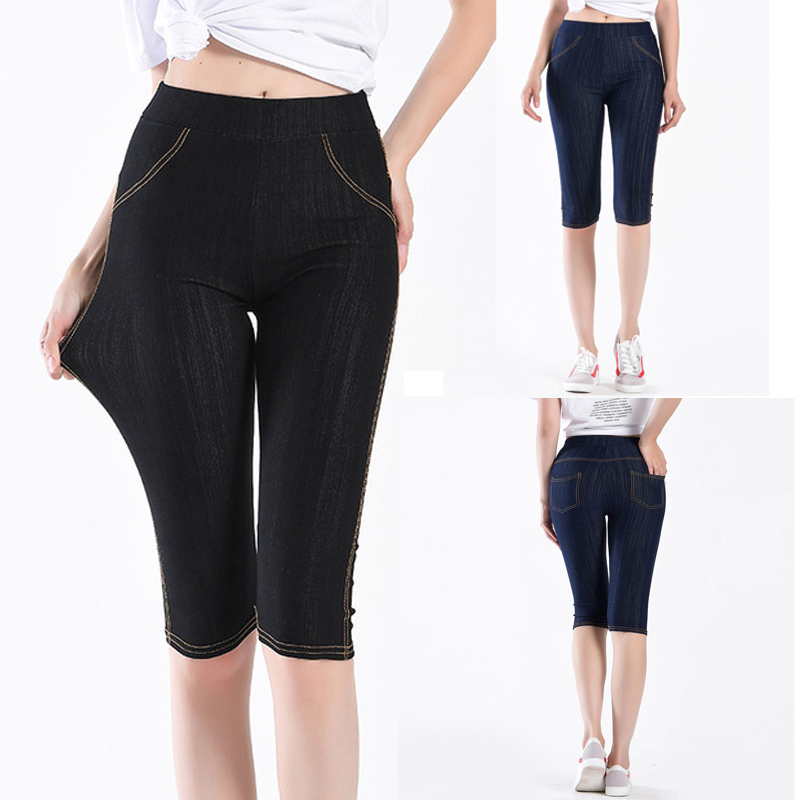 False Denim Short Leggings 3\4 Women Jeans Leggings High Waist Breeches Capri Pants Push Up Super Elastic Jeggings Plus Size 5XL