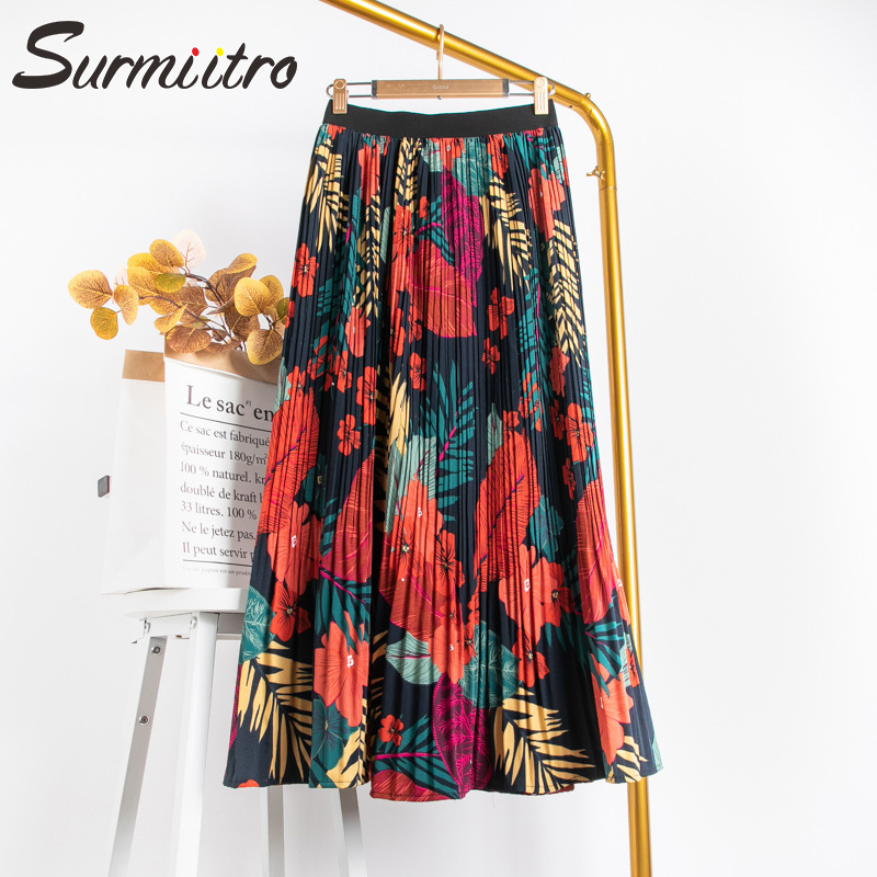 Surmiitro Floral Print Chiffon Maxi Skirt Women With High Waist 2020 Spring Summer Ladies Red Black Long Pleated Skirt Female