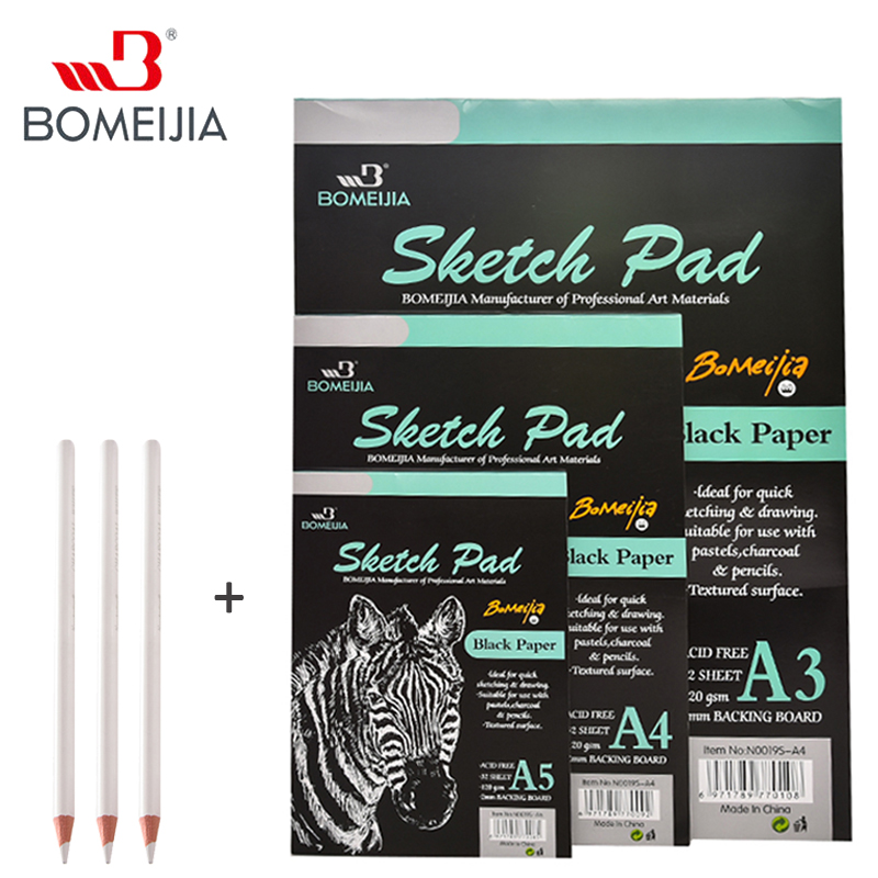 32 Sheet A3/A4/A5 Black Paper Cardboard Notebook White Sketch Charcoal Pencil Art Marker Sketch Book For Paiting Drawing Diary