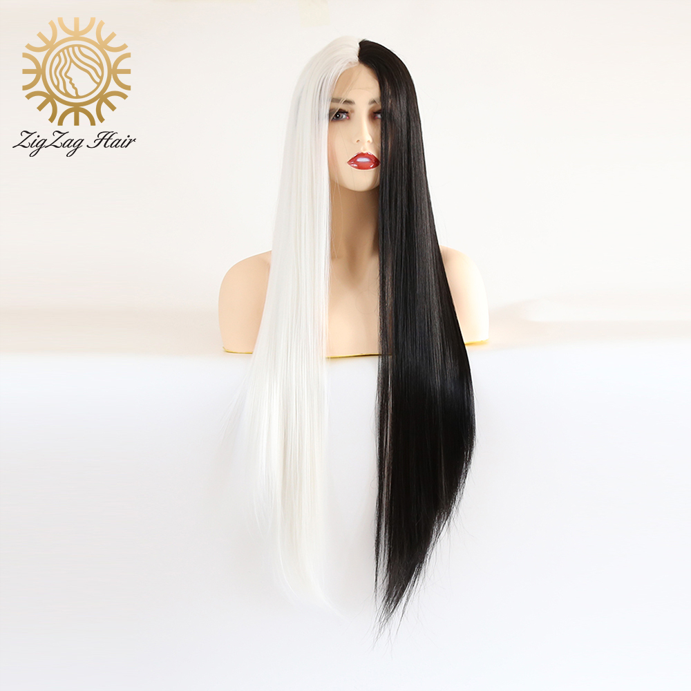 ZigZag Straight Half White Half Black Synthetic Lace Front Wig For Women Long Heat Resistant Fiber Hair Hand Tied Cosplay Wig