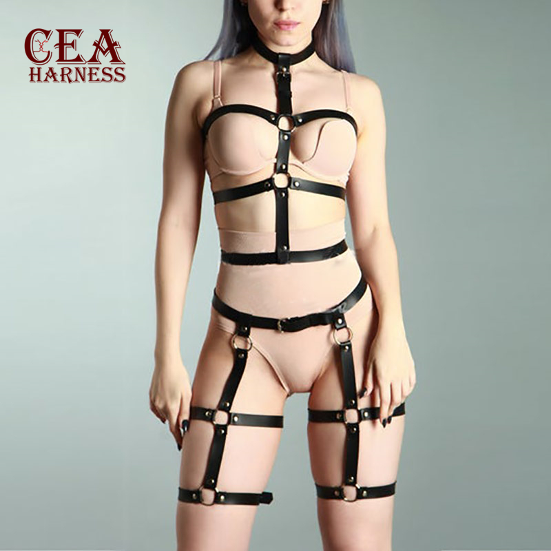 CEA. Sexy Sets 2PCS Women Garters Bra Harness Leg Bondage Straps Fashion Bra Leg Garter Adjustable Leather Belt Punk Style