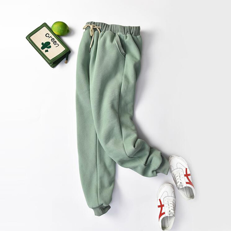 Plus Size Thick Lambskin Cashmere Women Pants 2019 Winter Warm Harem Pants Casual Elastic Waist Loose Sweatpants Cotton Trousers