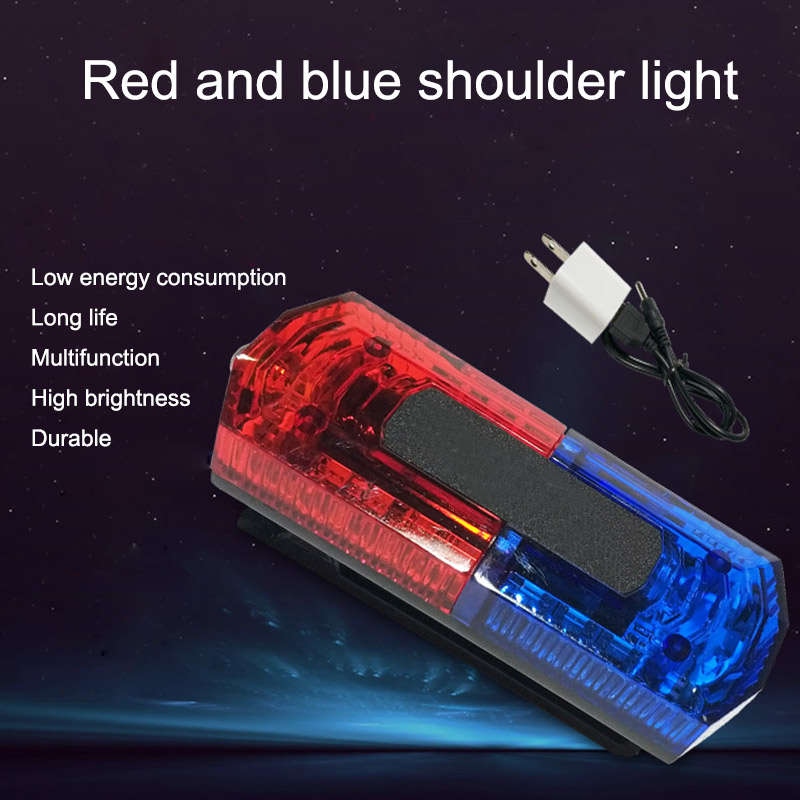 Traffic Warning Light LED Stainless Steel Clip Red Blue Flash Light Rechargeable Night Road Outdoor Dark Area Warning Lamp