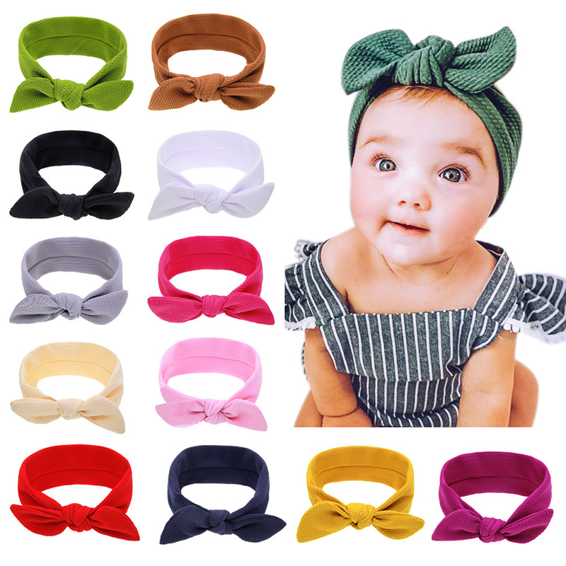 Baby Cute Ear Headbands Kids Bow Knot Rabbit Ears Elastic Bubble Texture Rotating Hairbands Hair Accessories Hair Bands Headwear