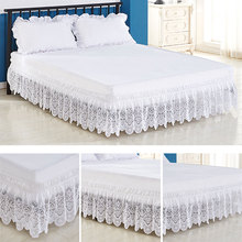 Lace Trimmed Elastic Bed Skirt Wrinkle Free Dust Ruffle for Twin Queen King
