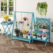 Balcony Flower Shelf Interior Creative Solid Wood Living Room Multi layer Small Shelf  Space Saving Shelf Organizer
