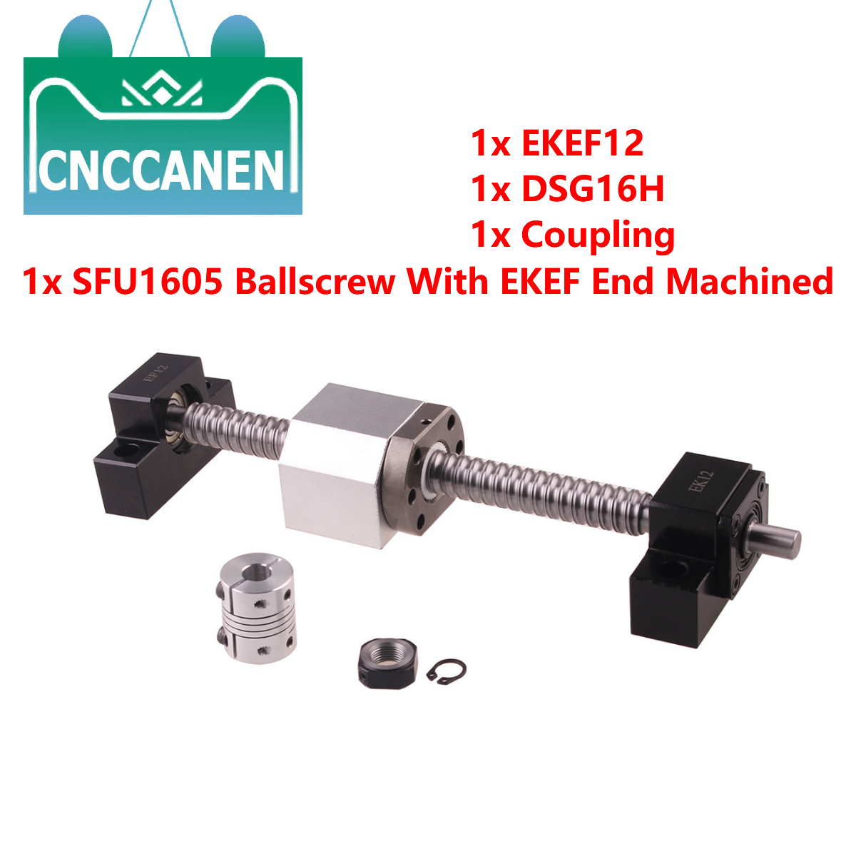 Ballscrew SFU1605-150~2500MM Rolled Ball Screw C7 With EK/EF12 End Machined+1605 Ball Nut+Nut Housing+EKEF12 End Support+Coupler
