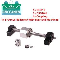 Tornillo de bola SFU1605-150 ~ 2500MM C7 con extremo EK/EF12 mecanizado + husillo de bolas 1605 + carcasa de tuerca + soporte de extremo EKEF12 + acoplador