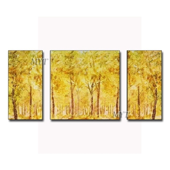 Yellow Tree Abstract Art 100% Hand Painted Gold Abstract Oil Painting Art Group Paintings Wall Art Decoration Unframed Decor