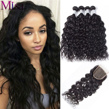 Mi Lisa Water Wave Bundles With Closure Human Hair Weave With Lace Closure Remy Peruvian Hair 3 Bundles With 4x4 5x5 6x6 Closure image