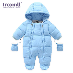 Image 2 - Ircomll Warm Infant Baby Jumpsuit Cotton Down Rompers Hooded Inside Fleece Boy Girl Winter Autumn Overalls Children Outerwear