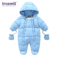 Ircomll Warm Infant Baby Jumpsuit Cotton Down Rompers Hooded Inside Fleece Boy Girl Winter Autumn Overalls Children Outerwear
