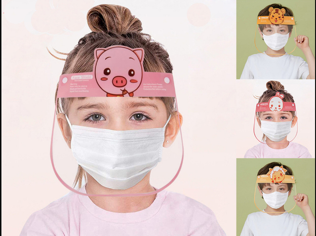 4pcs Safety Virus Protective Children Kids Face Shield Screen Mask Anti Spittle Anti Saliva Dust-proof Anti-Splash Face Mask