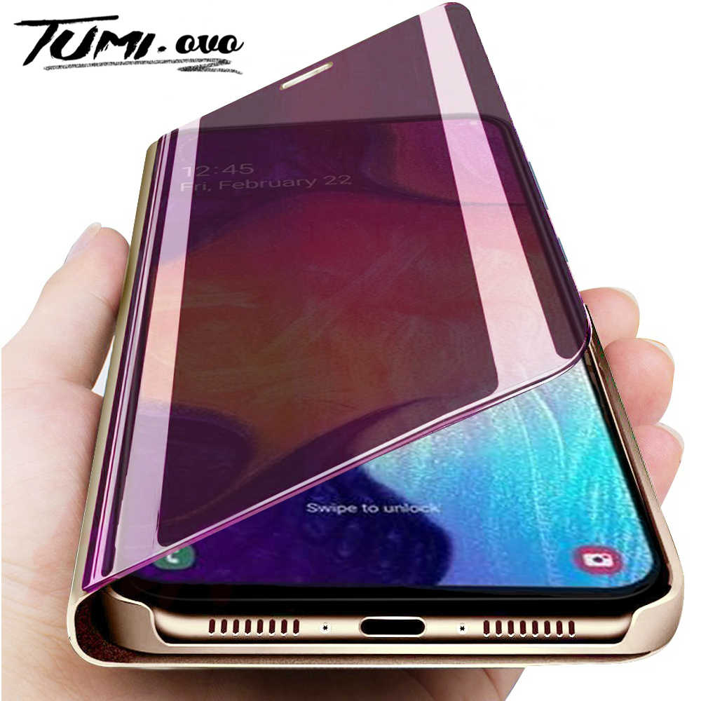 Mirror Flip Standing Case For Samsung A50 A40 A70 A80 A20 A30 M20 M10 A10 Leather Case Note 9 8 10 Pro Protective Case Cover