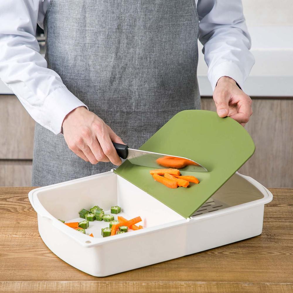3 in 1 mutfak kesme tahtası plastik kesme tahtası blok drenaj sepeti çeşitli eşyalar saklama kutusu kesme Mat Pad mutfak gereçleri
