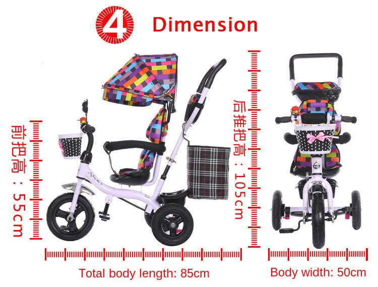 2 In 1 Baby Tricycle Stroller Three Wheels Stroller Baby Carriage Pram Toddler Child Tricycle Bicycle Jogging Stroller Buggies