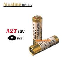 2 pces 27a 12 v bateria alcalina seca 27ae 27mn a27 para campainha, alarme de carro, walkman, controle remoto do carro etc