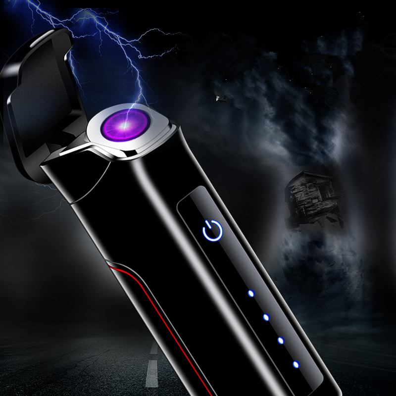 2019 Touch Sensing  Rotate Arc lighter USB charging Lithium LED Power Display PVD Process Gifts for friend|Cigarette Accessories| |  - title=