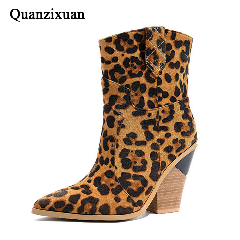 Leopard Mid calf Boots Female Winter Shoes Warm Women Boots High Heels Women Botas Mujer Plus Size 43 Women's Winter Boots