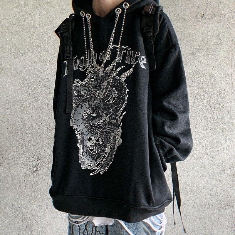 Gothic Thick Hoodies Women Clothes Dragon Print Sweatshirts Hip Hop Female Hoodie Streetwear Punk Devil Print 2020 Spring Loose