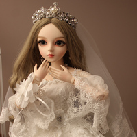 1/3ball jointed doll bjd doll doris gifts for girl Handpainted makeup fullset fairy tale princess doll with crown wedding dress