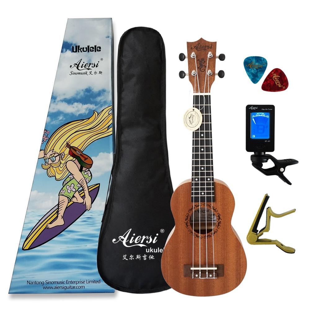 Aiersi brand 21 inch mahogany Soprano ukulele Hawaiian guitar ukelele